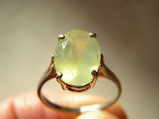 High Grade Faceted Prehnite Solitaire Ring 14x10mm 5.40 ct, sz9 925 Silver