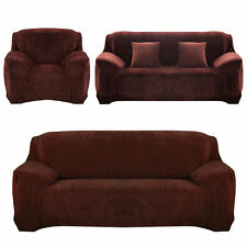 Stretch Sofa Slip Over Couch Settee Fit Covers Elastic Fabric Protector 3 Seater(190-230cm) Chocolate