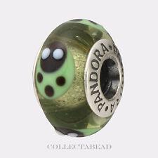 Authentic Pandora Silver Murano Green Ladybugs Bead 790653   RETIRED