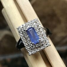 Estate Genuine AAA 1ct Tanzanite 925 Solid Sterling Silver Emerald Cut Ring sz 8
