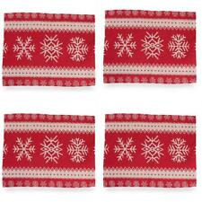 Set of 4 Geometric Snowflake on Red Christmas Placemats