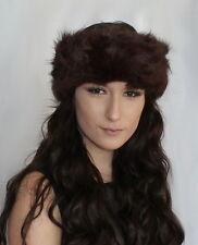 Faux Fur Headband Ear Warmer Winter ski ear muffs Dark Brown Hairband Headwrap