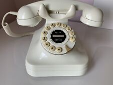 Pottery Barn Vintage Rotary Style Push Button Deskop Ivory White Telephone