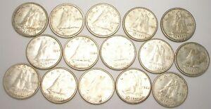 Lot of 15 - Canada Canadian Dimes Queen Elizabeth II Ten Cents Silver Coins