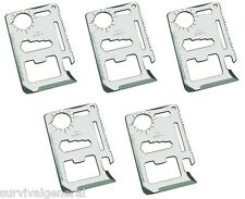 (5) 11-In-1 Multi-Functional Credit Card Style Pocket Knife Tool Camping BOB Kit