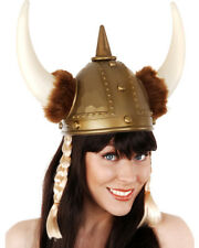 A825 Plastic Long Viking Hat With Plaits Helmet Norse Horns Costume Accessory