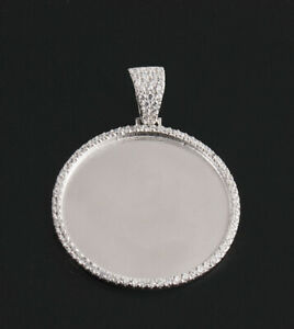 Sterling Silver CZ Round Picture Frame 3mm Pendent