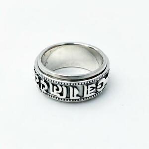 BRAND NEW BUDDHA SANSKRIT SPINNER RING BAND MANTRA TIBETAN 925 Sterling silver