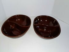 2 Vntg Marcrest Stoneware Daisy Dot Brown Divided Serving Dish Bowl Oven Proof