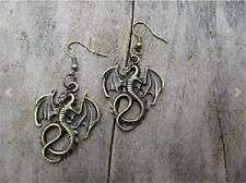 """Dangle Earrings 2 1/2"""" Gothic Antique Bronze Winged Dragon"""