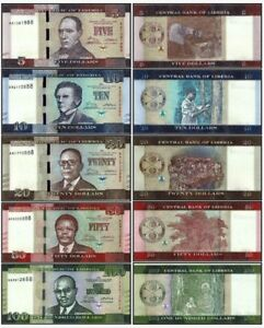 Liberia 2016 year 5+10+20+50+100 Dollars set 5PCS BrandNew Banknotes