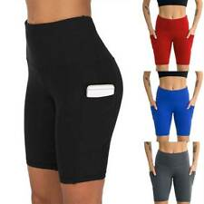 Womens High Waist Gym Leggings Pockets Fitness Sports Exercise Shorts Yoga Pants