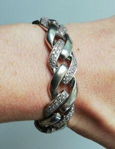 Bracelet en argent et zircon, grosse mailles americaine  poinçonné 925