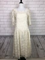 Vintage LANZ ORIGINALS Ivory White Lace Dress 80's Puff Sleeve Sz 10 Made In USA