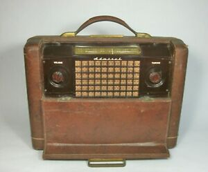 w Vtg 1947 ADMIRAL Model 7P34 SUITCASE TUBE RADIO Chassis 5H1 for PARTS/REPAIR