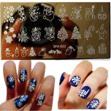 Arte en uñas placa de imagen Planchas para Estampar Navidad Copos De Nieve Baubles Santa (SPH003)