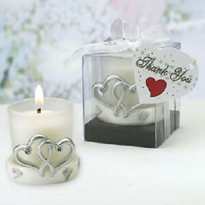 12 Interlocking Silver Heart Candle Holders Bridal Shower Wedding Favors