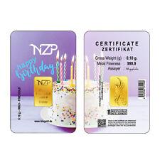 Goldbarren 0,1g Gramm, Happy Birthday  (NZP Gold Barren Geburtstag Geschenk) NEU