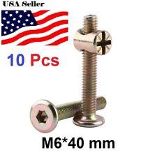 10pcs M6 Carbon Steel Furniture Bolts Barrel Nuts Dowel Connector Fastener 40mm