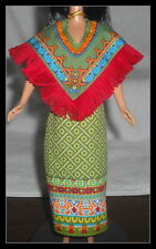 DRESS MATTEL BARBIE DOLL DOTW ANCIENT MEXICO COLORFUL GREEN RED BLUE PRINT