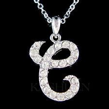 w Swarovski Crystal ~Letter e Initial~ Charm Chain Necklace Personalized Jewelry