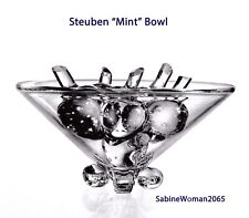 NEW in BOX STEUBEN glass SCROLL FOOTED MINT BOWL crystal ornament rose vase