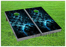 CORNHOLE BEANBAG TOSS GAME w Bags Game Board Checkered Flag Stars Space  Set 685