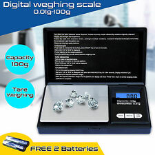 NUOVO MINI BILANCIA DIGITALE LCD TASCABILE ELETTRONICO PESATURA SCALA di peso 0.01g-100gm