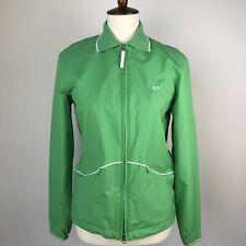 Escada Sport Elements Green Jacket 32 Zip-Up Collar Windbreaker Pockets Stripe