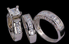 His & Hers Matching Engagement Wedding Band Ring Bridal Set 925 Sterling Silver