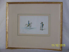 Antique c1768 Original Water Color Painting of Two Soldiers Artist Signed