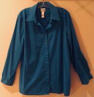 EUC Chico's Button-Down Blouse L (Chico's 2) Dark Blue Long Sleeves 67% Cotton