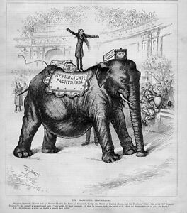 THOMAS NAST REPUBLICAN ELEPHANT PACHYDERM DEBT VOTES CIRCUS CLOWN SENATOR MAHONE