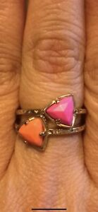 Kendra Scott Orange And Pink Rings In 14K Gold Plated Over Brass