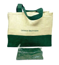 New Lehman Brothers Beach Tote Beige Canvas Green Suede With Matching Pouch