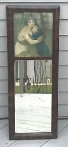 """ANTIQUE MAHOGANY 2 PART OGEE MIRROR- MOTHER AND CHILD  30x11 1/4"""""""