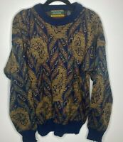 Vintage ATTUI mens sz medium pullover knit sweater 90's style brown navy Cosby