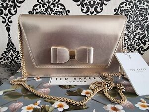 Ted Baker Genuine Ladies Gold keeira Evening Cluch Bag BNWT
