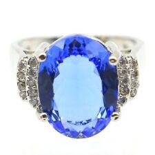 Charming Rich Blue Violet Tanzanite CZ Woman's Gift Silver Ring 7.75