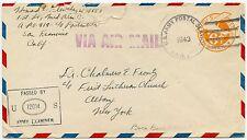 POLYNESIA BORA BORA USA WW2 ARMY STATIONERY 1943 CENSOR AIRMAIL to NY