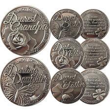 LUCKY COIN SENTIMENTAL GOOD LUCK COINS ENGRAVED MESSAGE KEEPSAKE GIFT SET CHARM