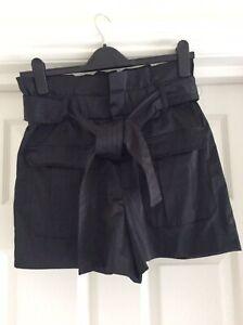 Zara Black Paperbag Tie Waist Shorts Size S 8-10 Top Miss RI Shop