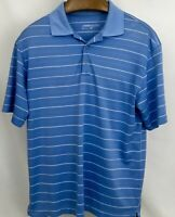 Nike Golf Dri-Fit Mens Size M Blue Striped Short Sleeve Polo Shirt