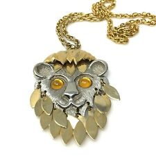 Lions Head Large Pendant Womens Necklace Gold Silver Tone Articulated Chain