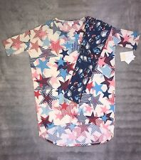 LulaRoe Outfit Irma T Top Tween Leggings 4th of July Americana XXS NWT #551