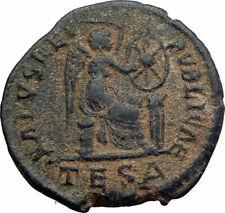 Aelia flacilla auténtica antigua moneda romana victoria Christian Chi-rho i80430
