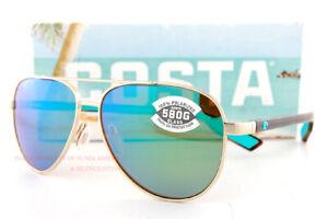 New Costa Del Mar Sunglasses PELI Brushed Gold Tort Green Mirror 580G Polarized