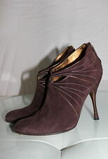 $895 DOLCE AND GABBANA BROWN SUEDE LEATHER HEELS ANKLE BOOTIE 36