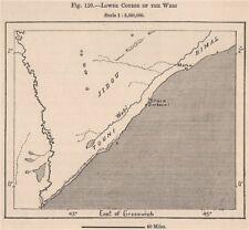 Corso inferiore del webi (SCEBELI) RIVER. SOMALIA 1885 VECCHIO ANTICO MAPPA Grafico