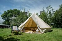3/4/5/6/7M Outdoor Canvas Bell Tent Glamping Camping Awning Tent Stove Jack